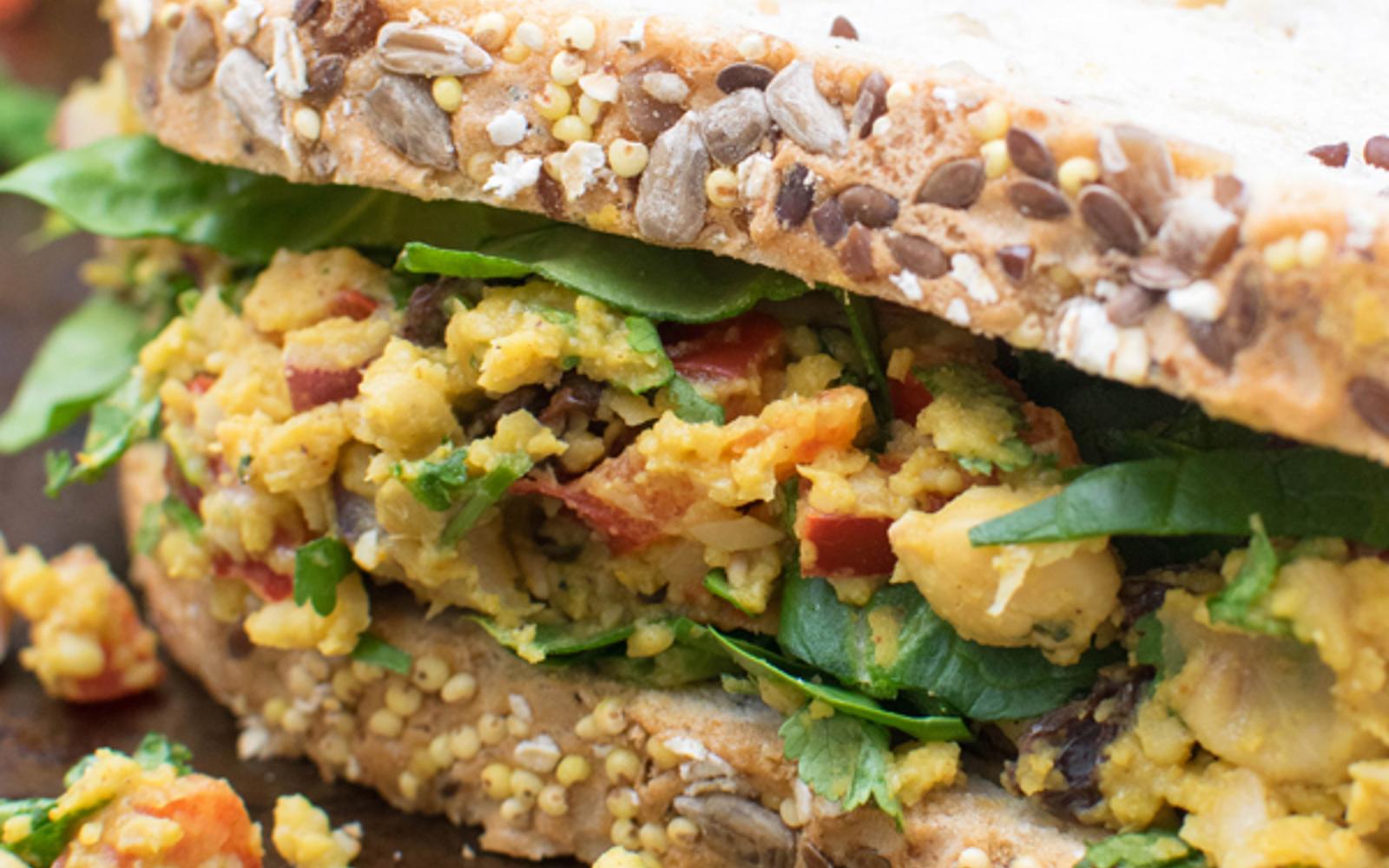 Vegan High-Protein Curry Chickpea Sandwich