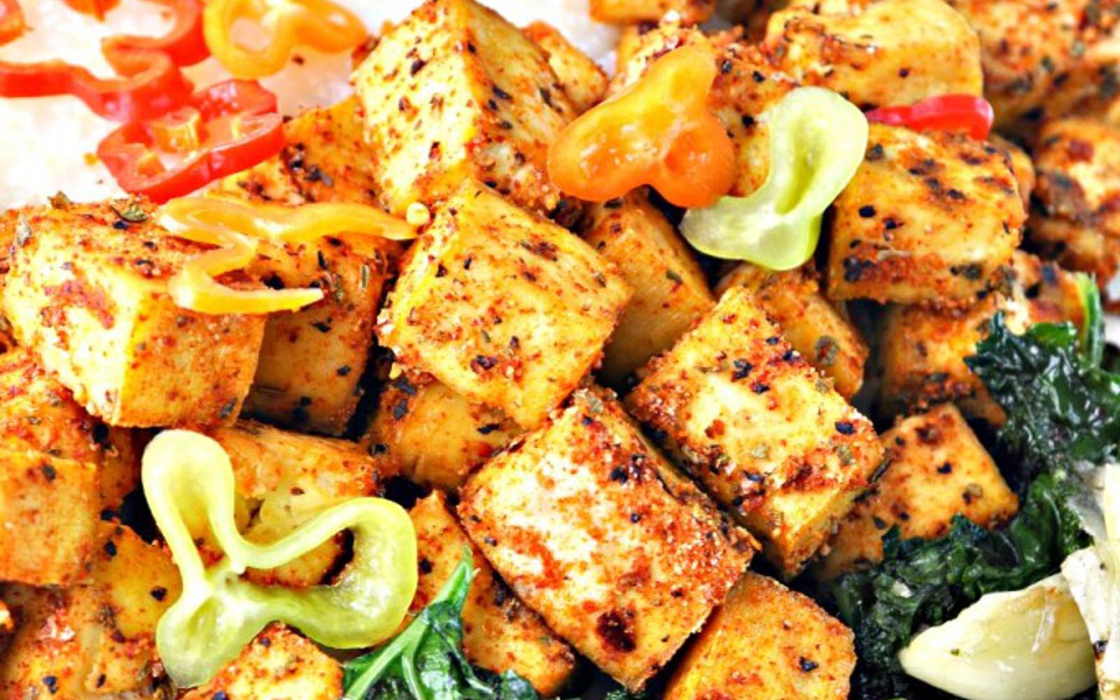 Vegan Cajun Tofu With Creamy Grits and Collard Greens