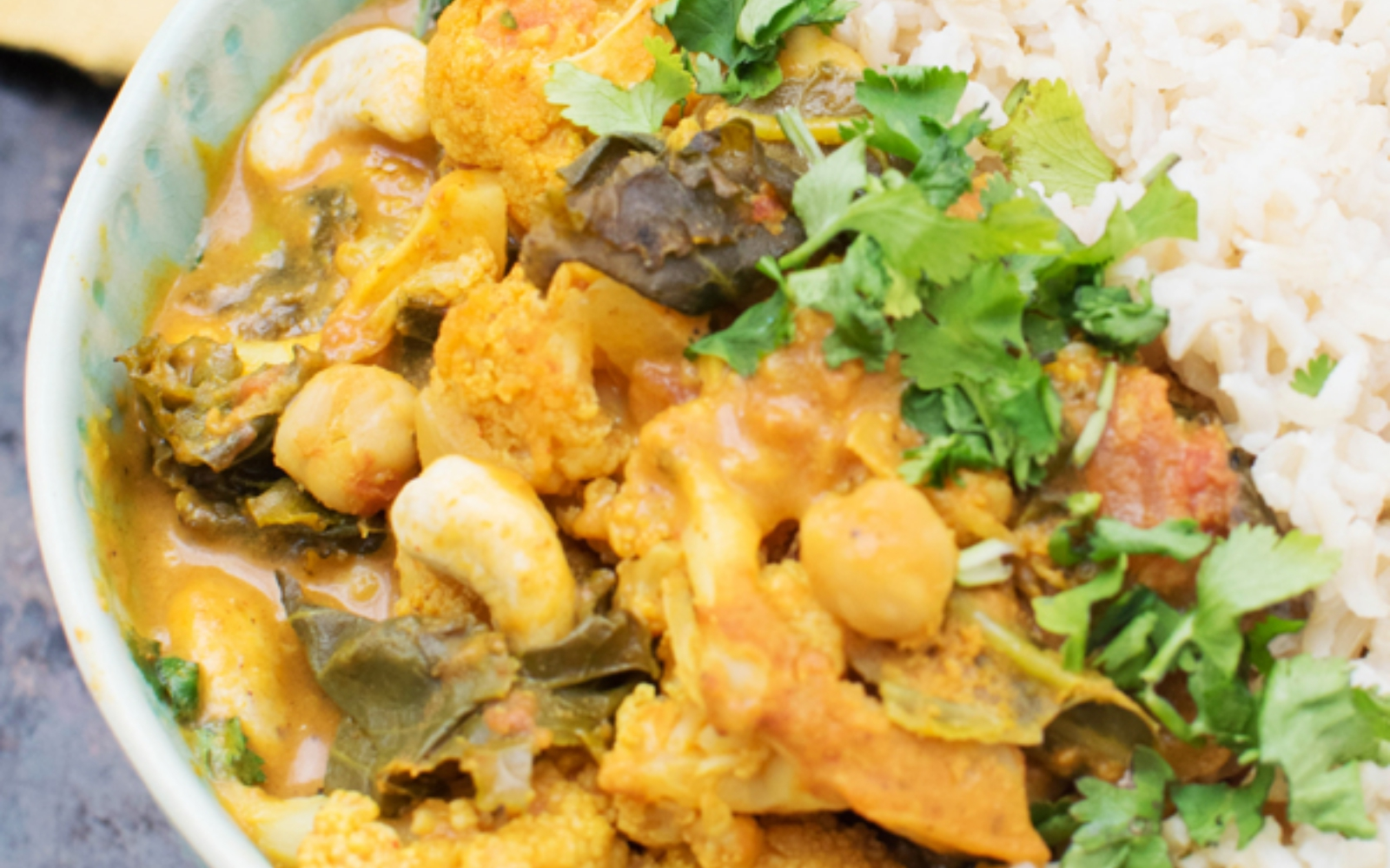 vegan Cauliflower and Kale Korma