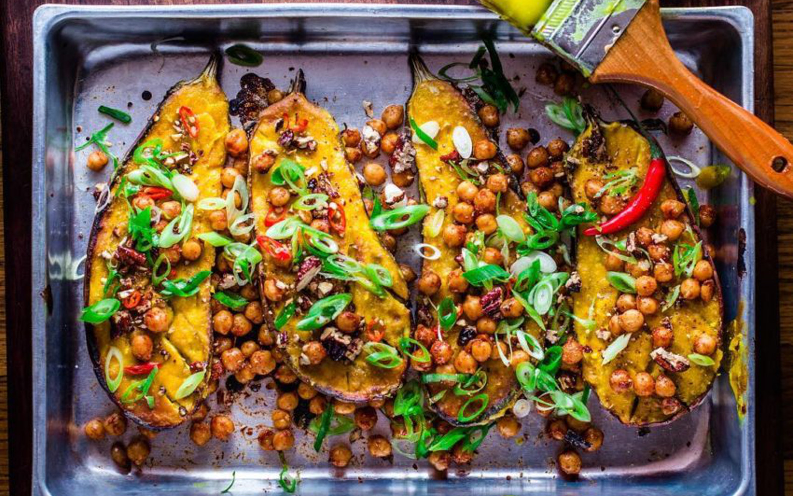 Miso-Glazed Eggplant With Spicy Chickpeas