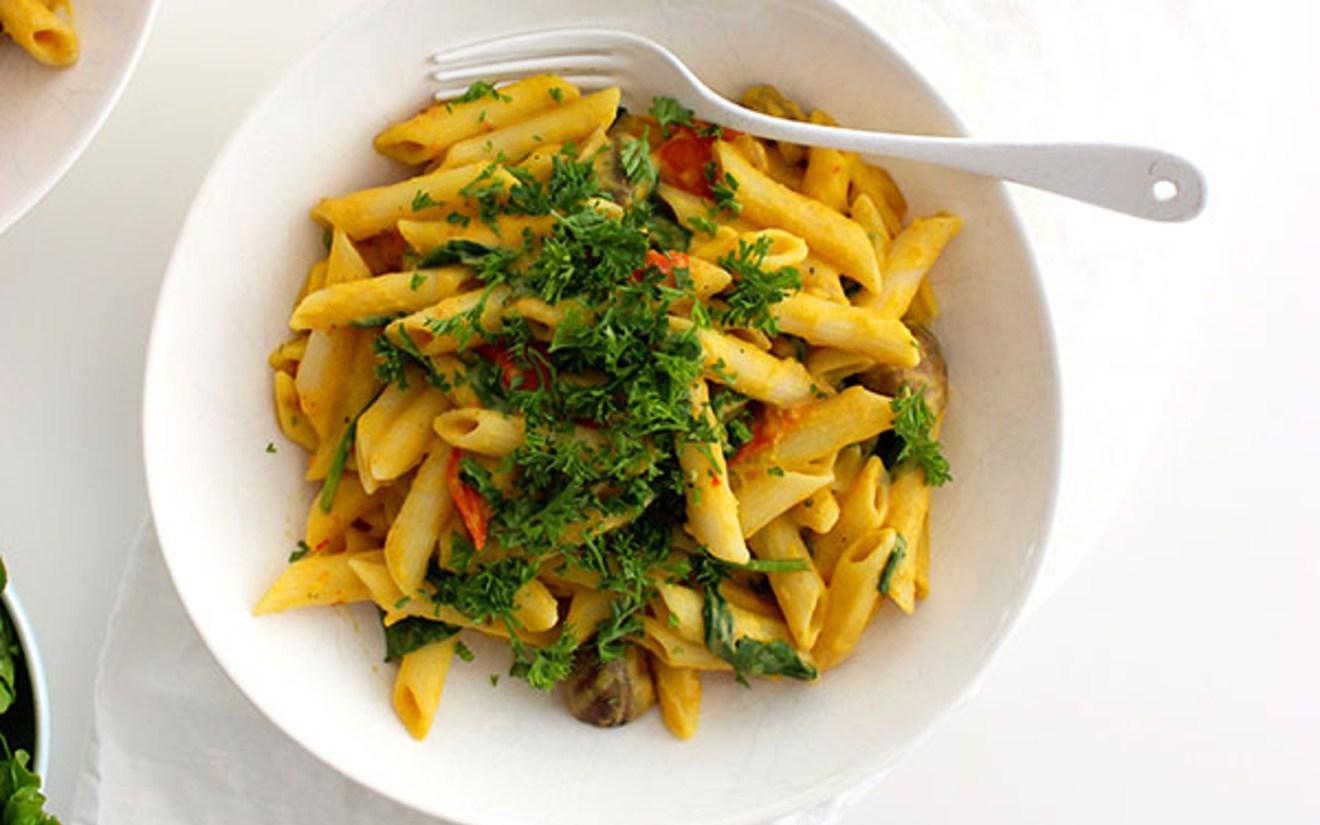 Veggie Carbonara With Cashew Cream Sauce