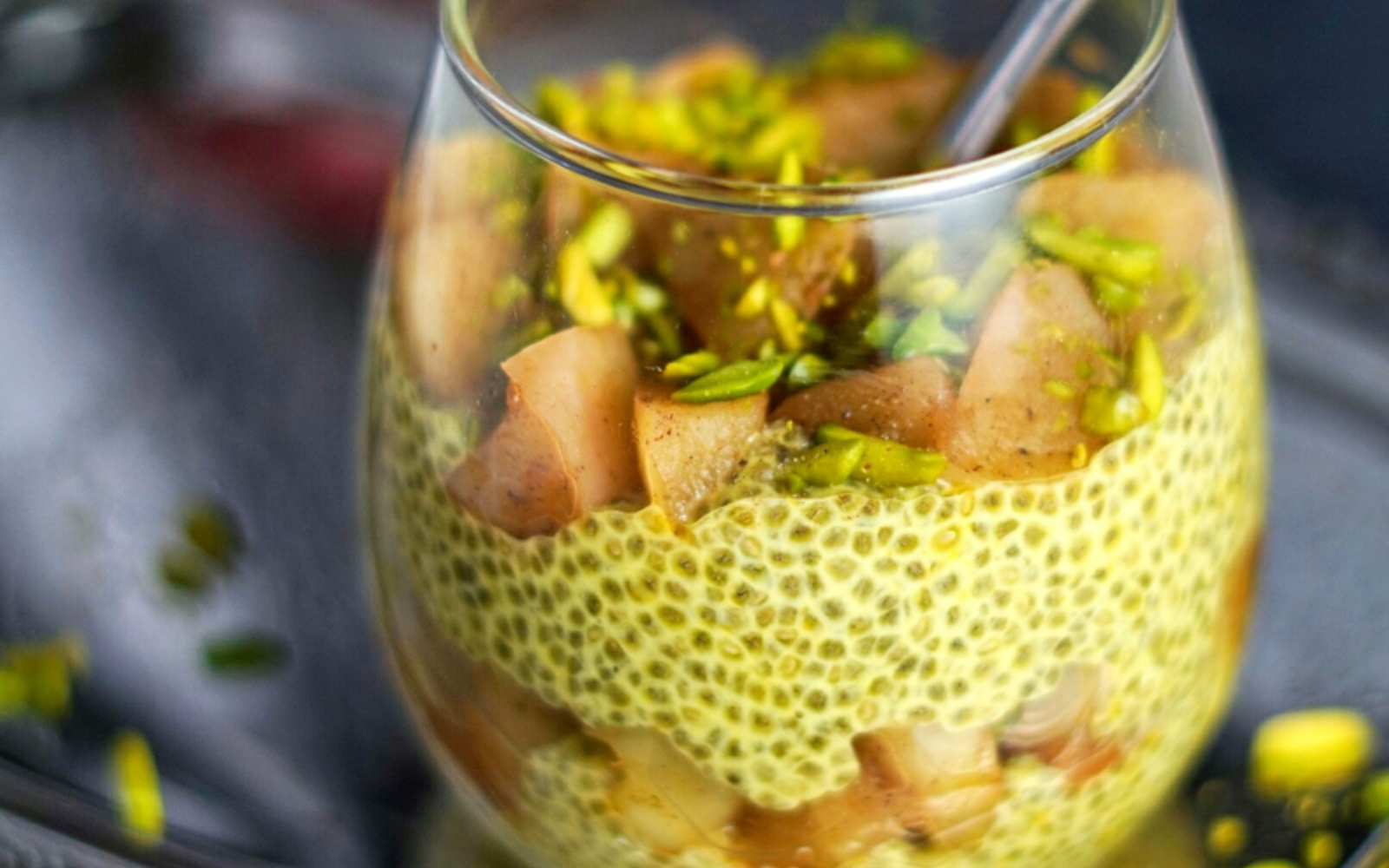 Saffron Rosewater Chia Pudding With Apple Compote