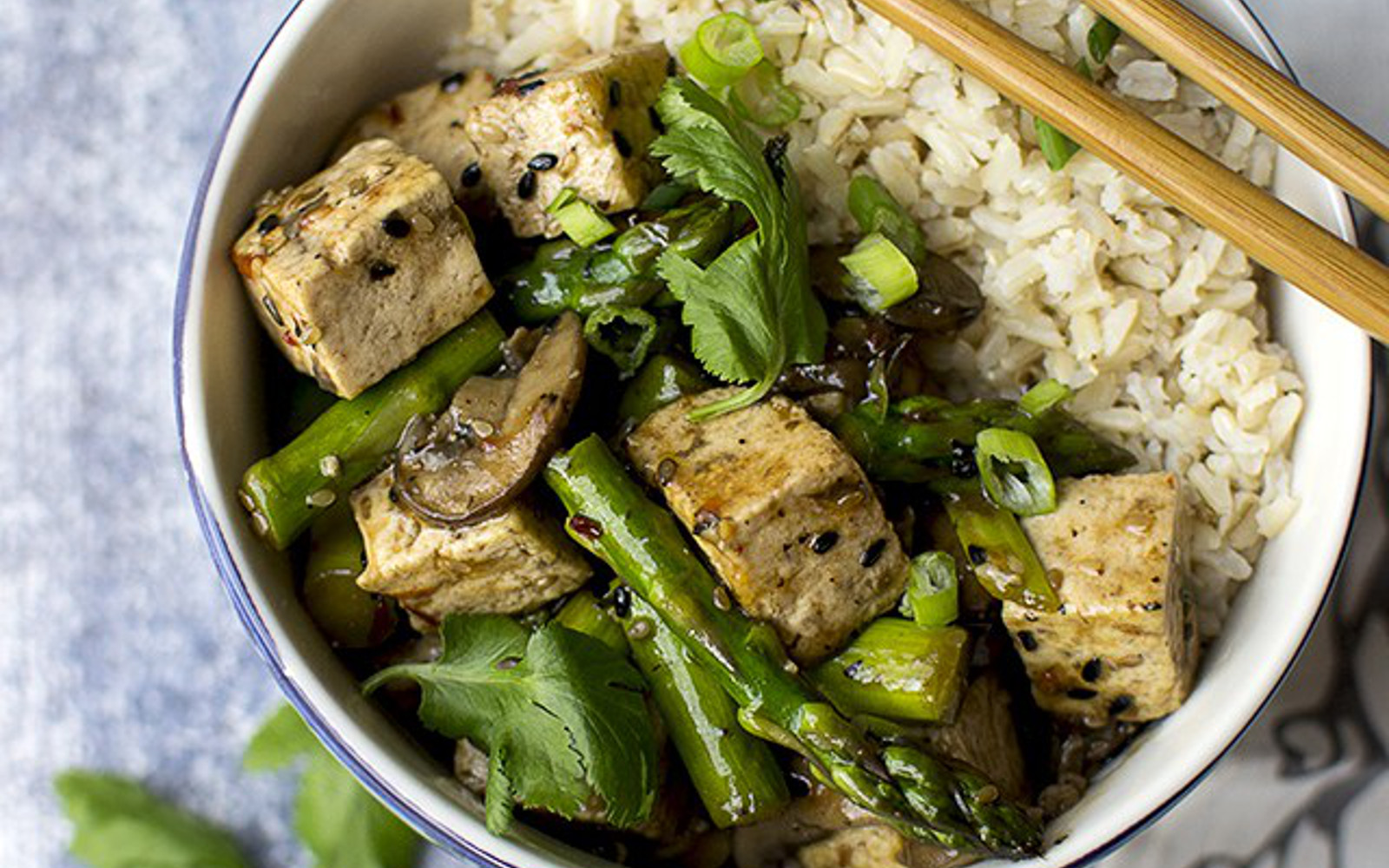 Vegan Sesame Tofu Asparagus Stir Fry