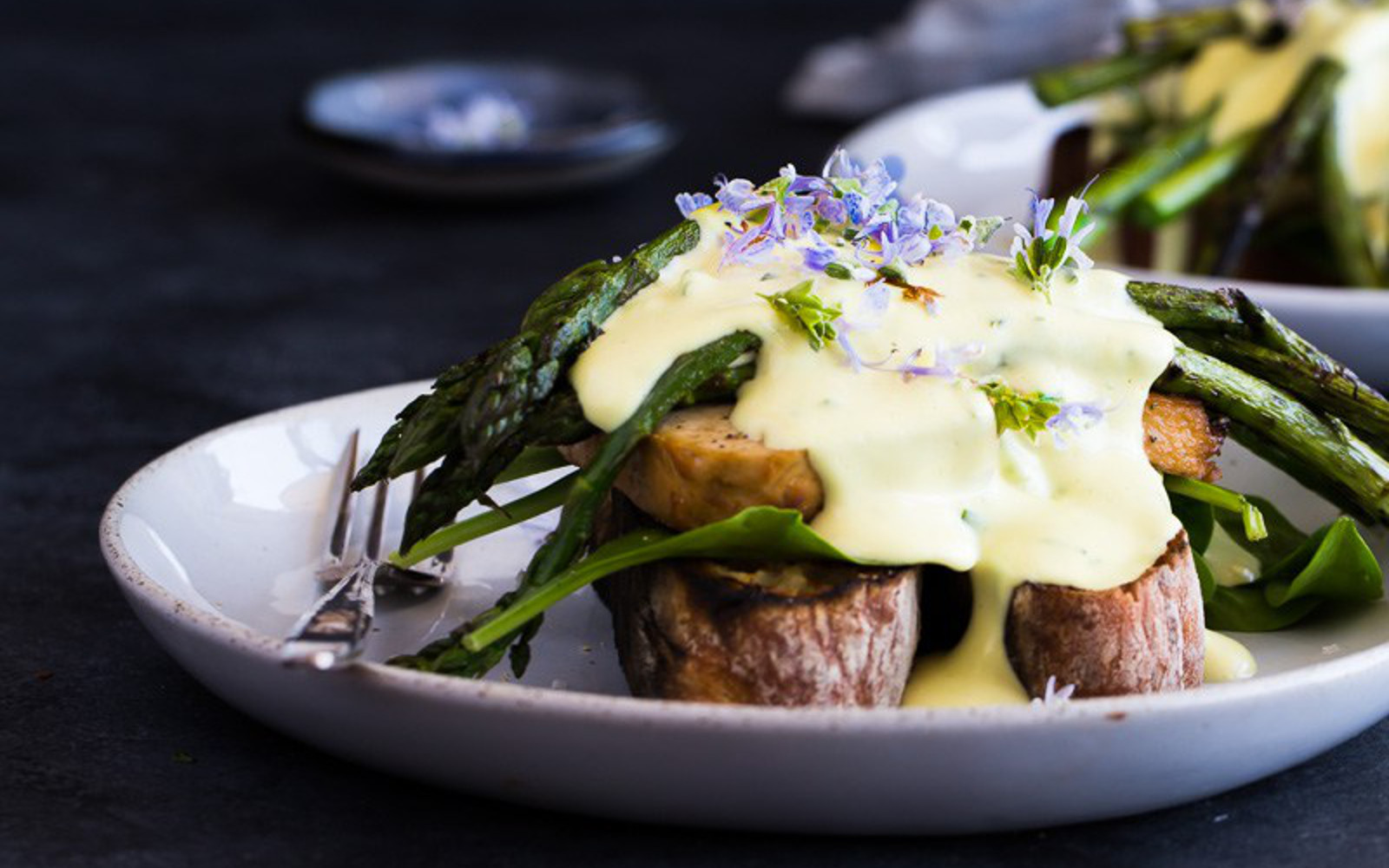 Grilled Asparagus and Smoked Tofu Benedict
