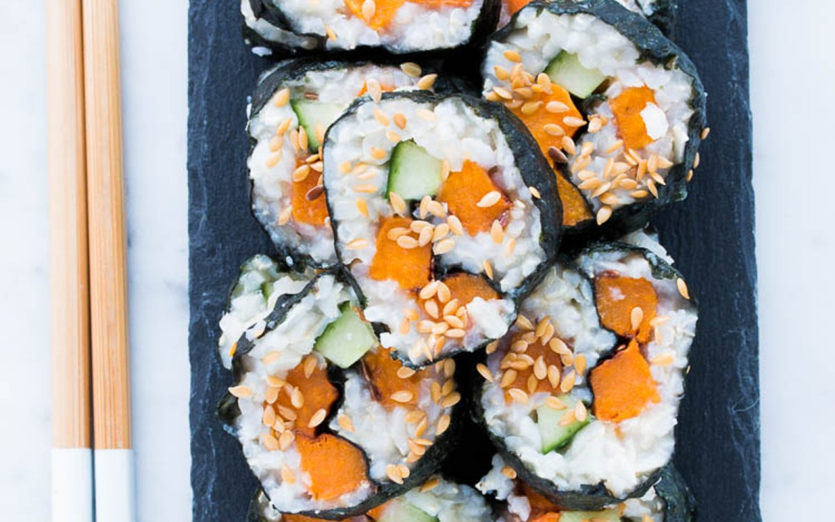 Vegan Gluten Free Roasted Sweet Potato Sushi