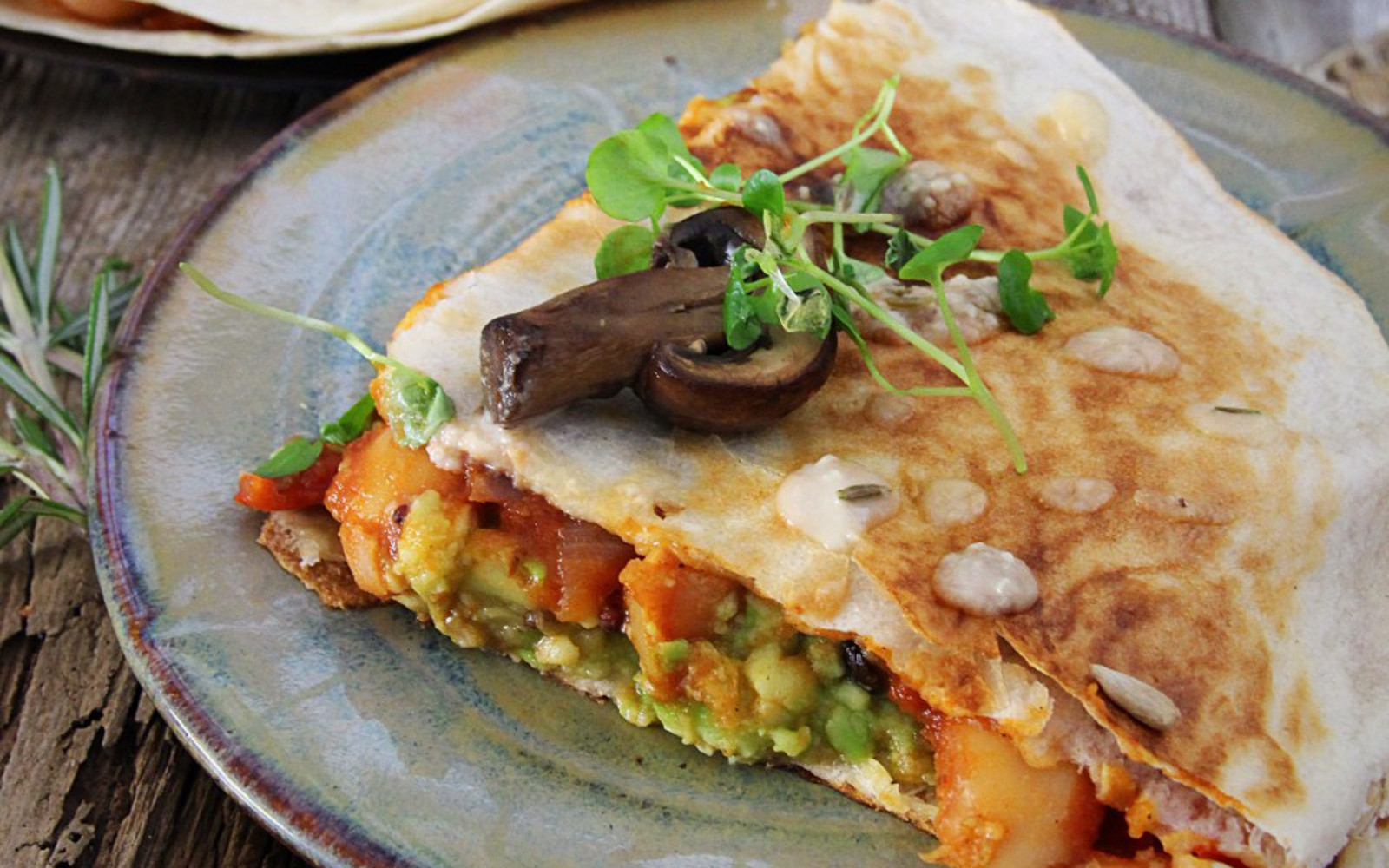 Spicy Bean, Mushroom and Avocado Quesadilla