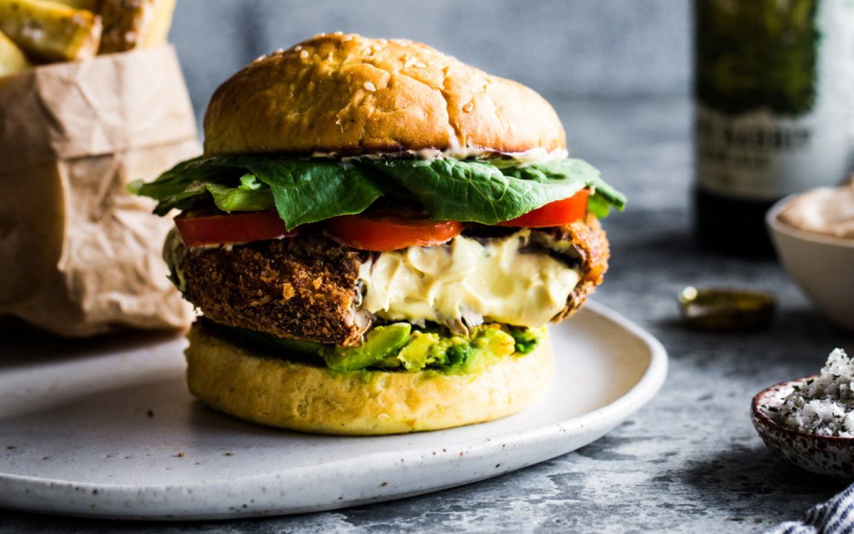 Shake Shack Double Stack Copycat: Cashew Cheese Stuffed Portobello Mushroom Burger