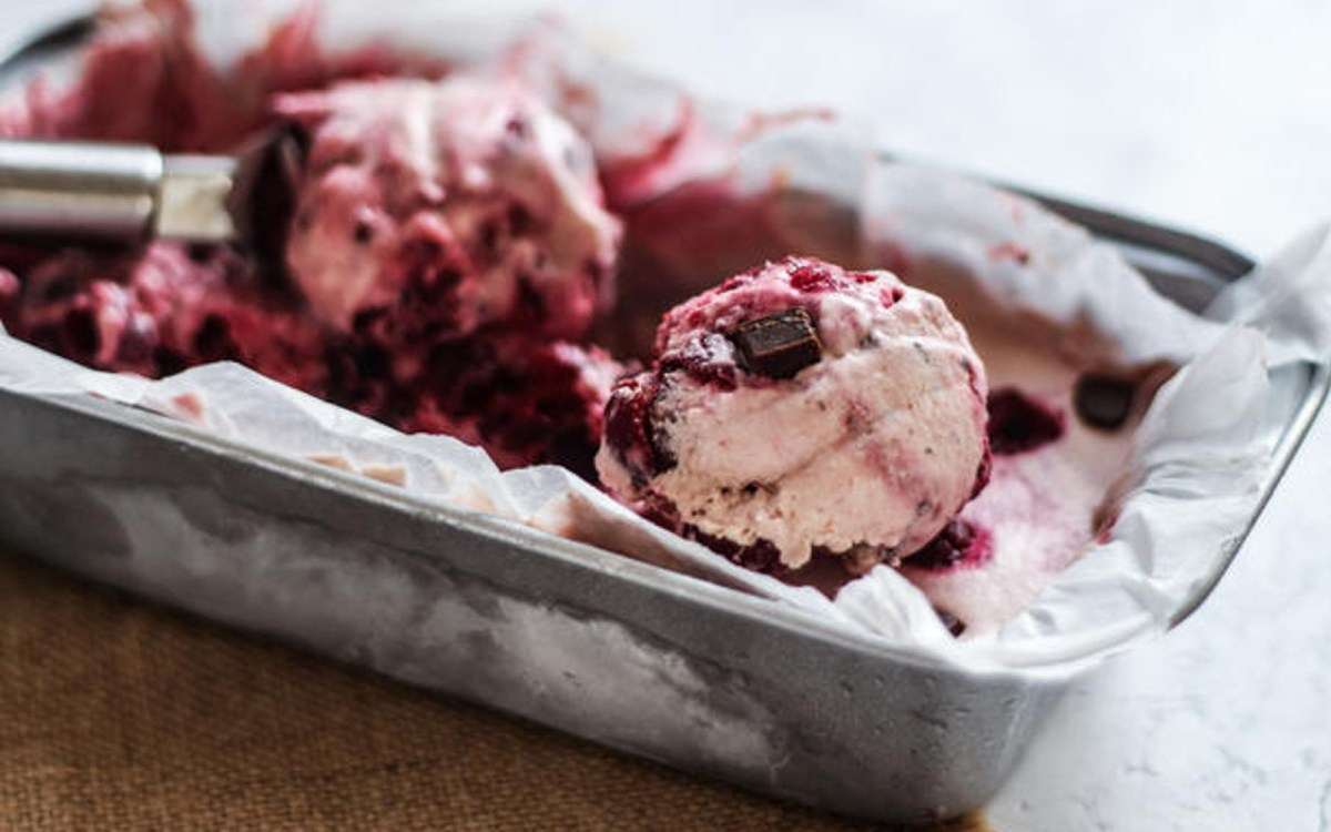 Vegan Raw Cherry Chocolate Chunk Ice Cream