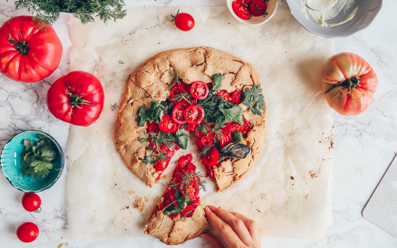 vegan heirloom tomato galette
