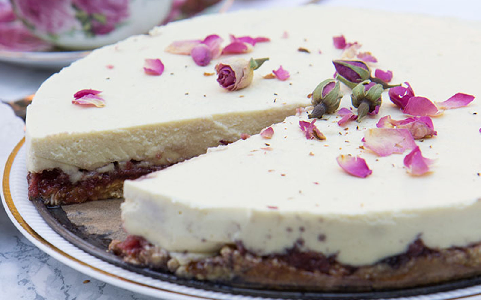 Cashew Cheesecake With and Oat Crust and Rose Jam