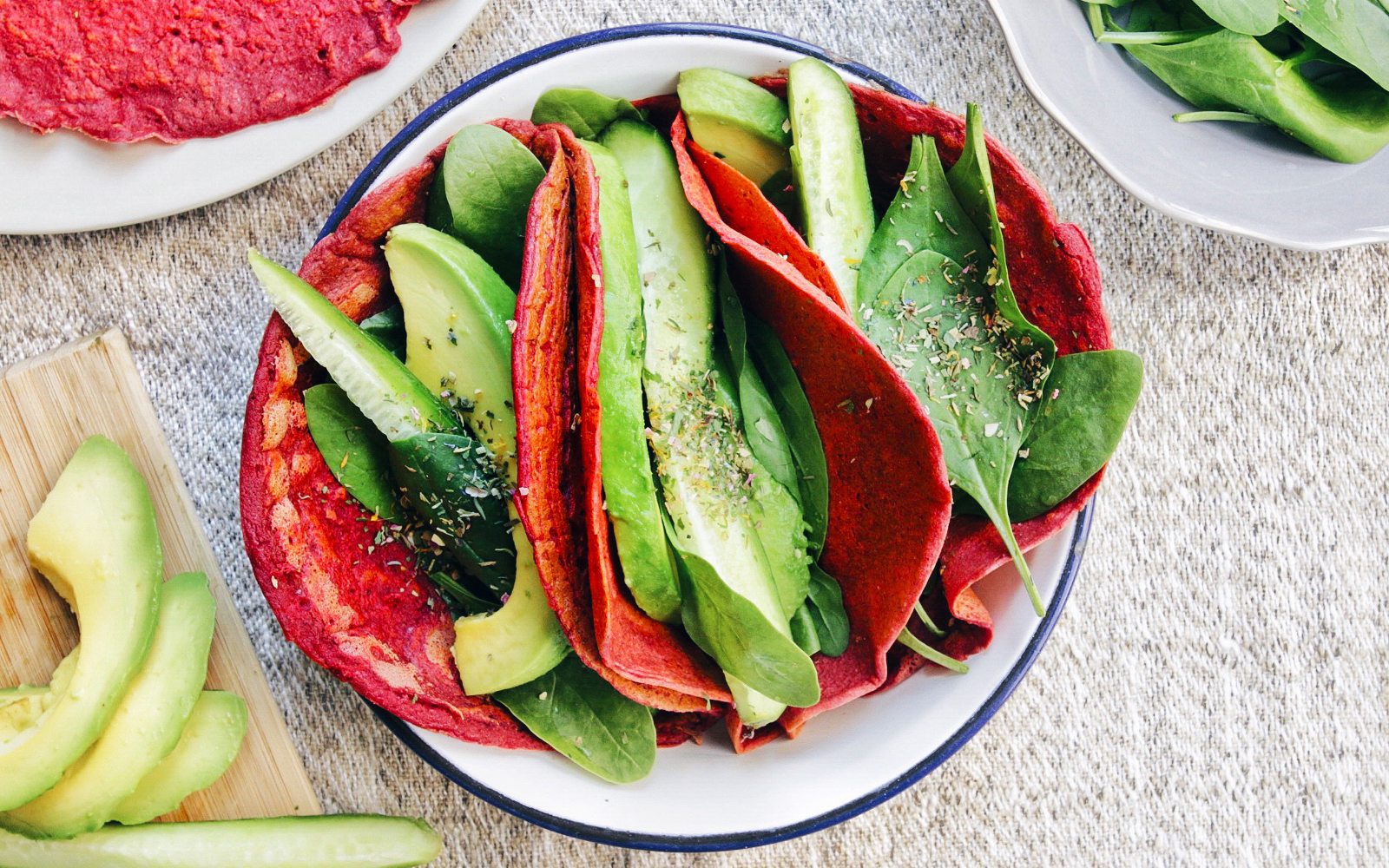 Vegan GLuten-Free Beet Chickpea Flour Tortillas with avocado