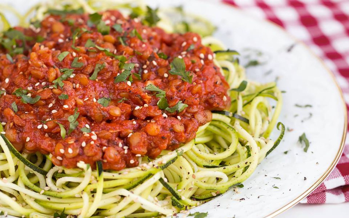 Zucchini Pasta With Spicy Tomato and Lentil Sauce