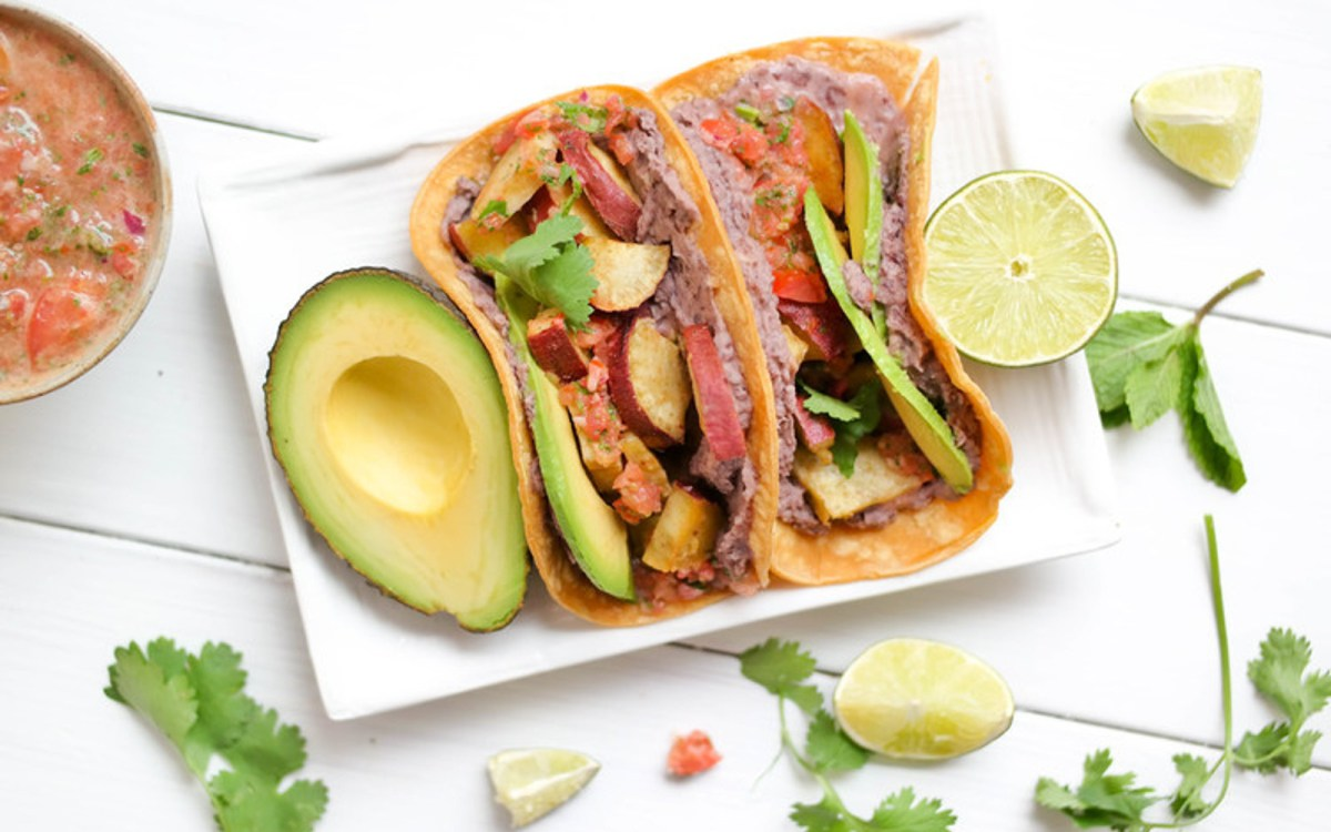 weet Potato Tacos With Mint-Cilantro Salsa