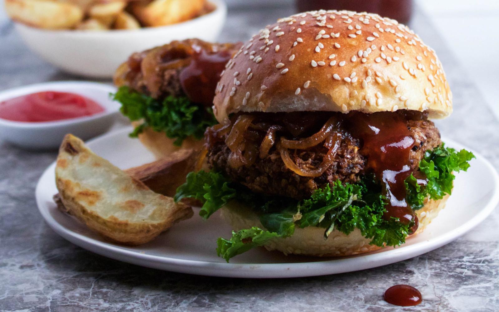 vegan gluten free bbq brown rice and portobello burgers
