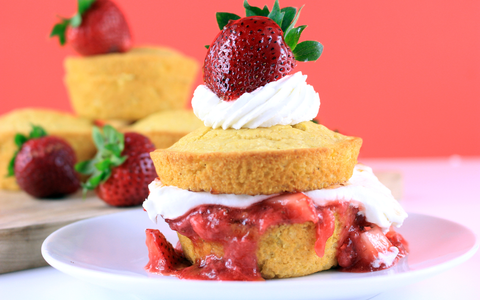 Vegan Strawberry Corn Cakes With Coconut Whipped Cream and fresh fruit
