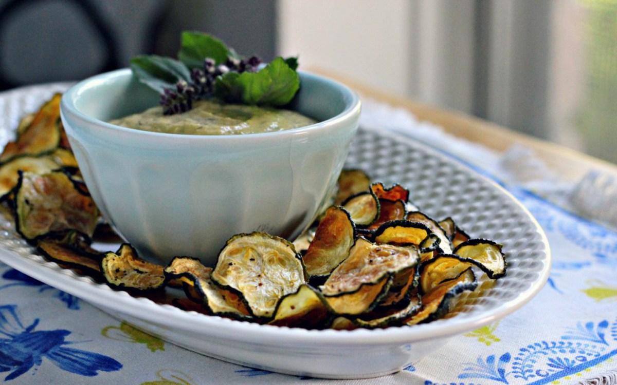 Zucchini Chips With Lemon Basil Tahini Dip