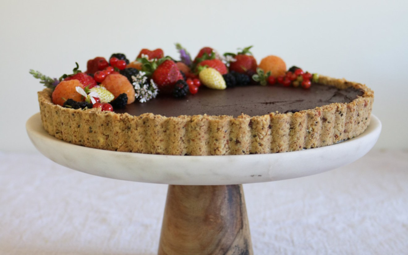 Vegan Purple Sweet Potato Chocolate Tart With Almond Cookie Crust
