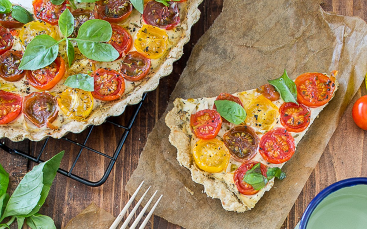 Vegan Herbed Tofu and Cherry Tomato Quiche