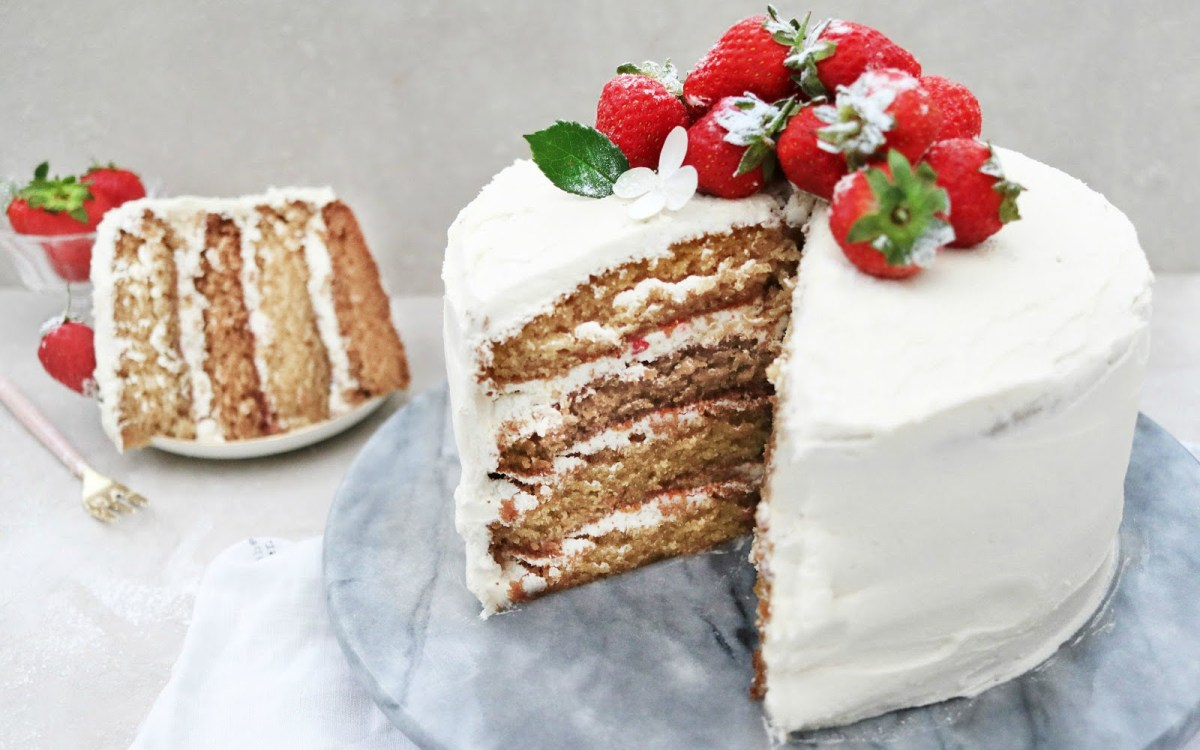 Vanilla Sponge Cake With Buttercream Frosting and Strawberry Jam