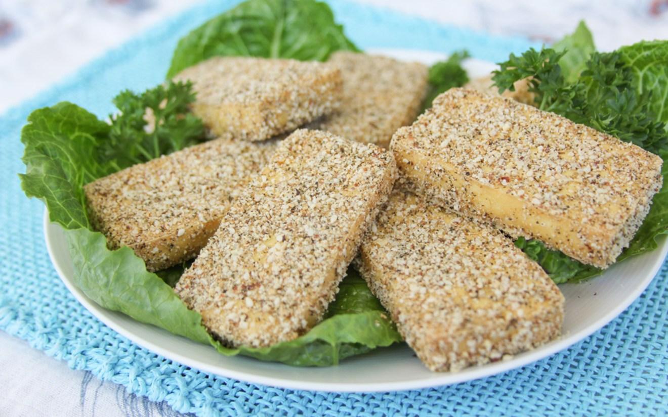 Vegan Baked Basil and Almond-Crusted Tofu