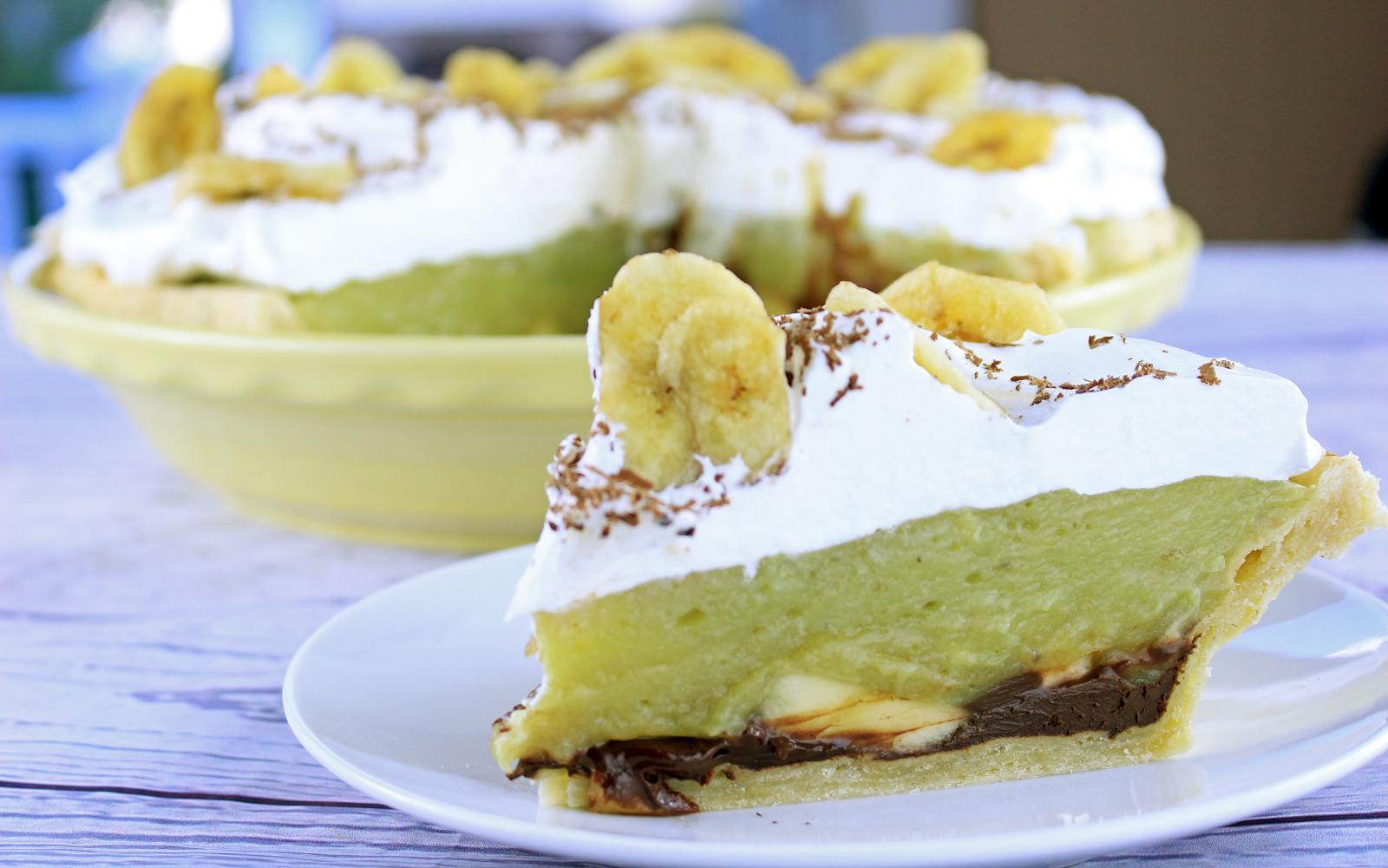 Vegan Black Bottom Banana Cream Pie with whipped topping