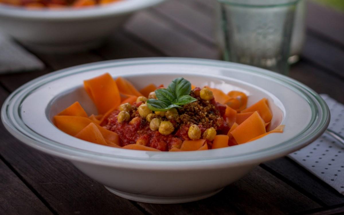 Vegan Gluten Free Carrot Tagliatelle Bolognese