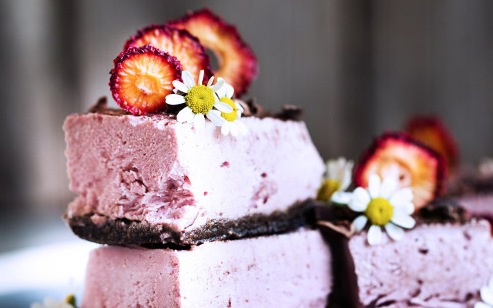 Vegan Frozen Strawberry Yogurt Bars