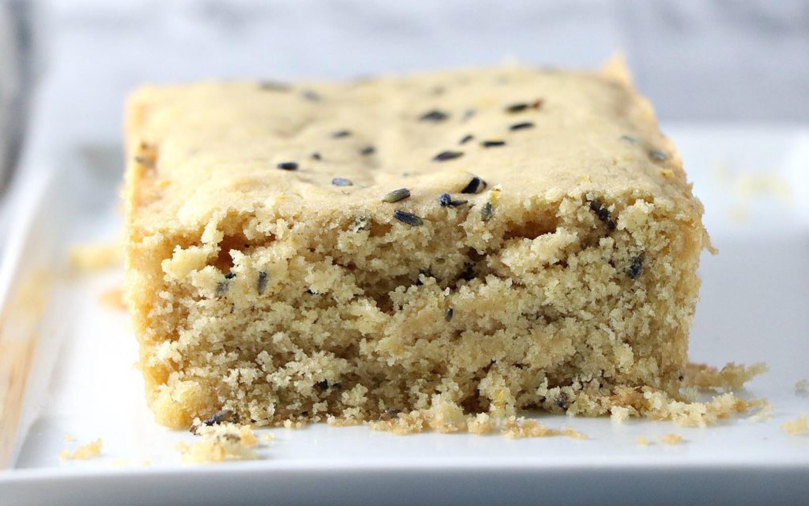 Vegan Lemon Lavender Pound Cake with toppings