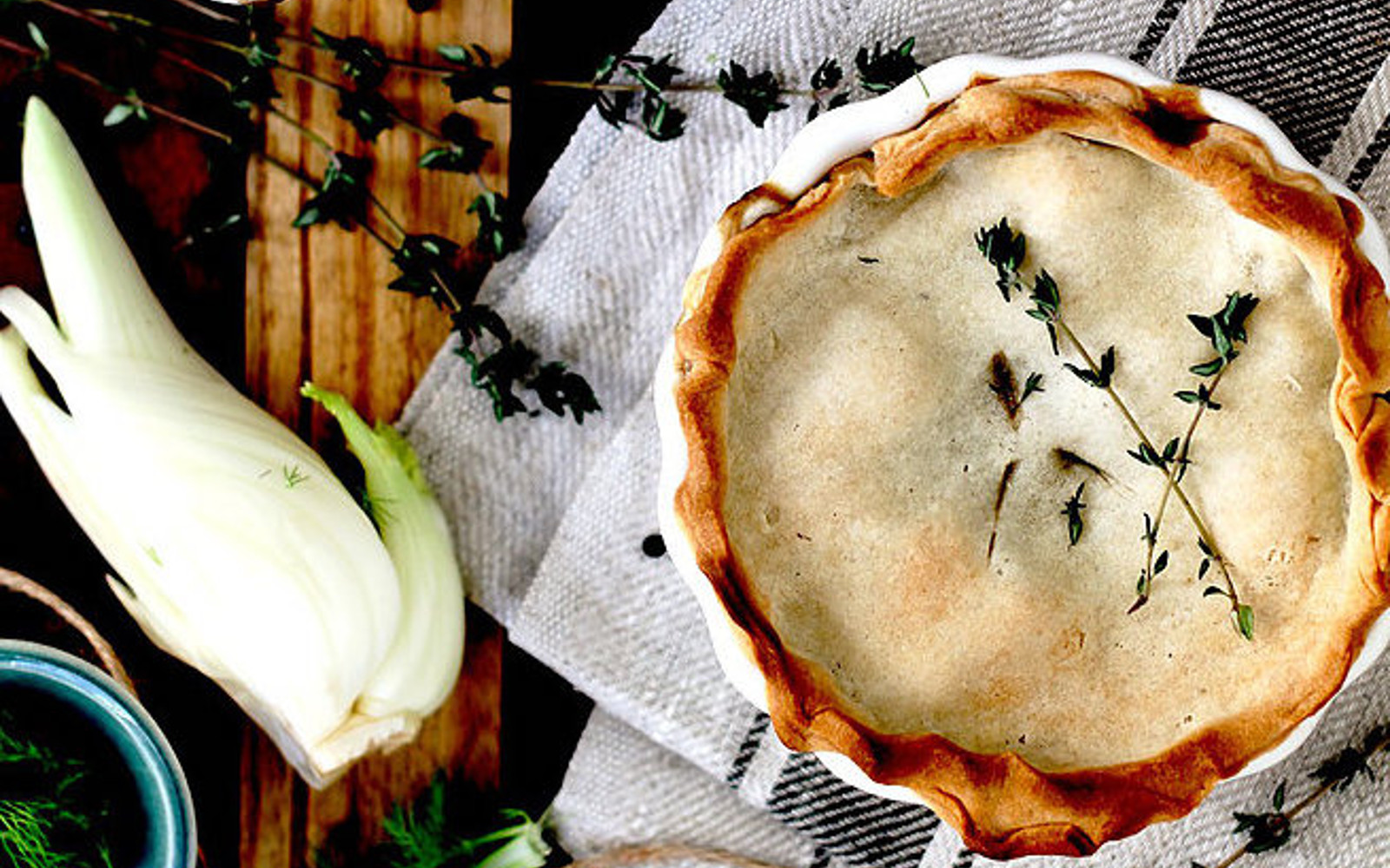 Mini Pot Pies With Black Lentil, Fennel, and Thyme