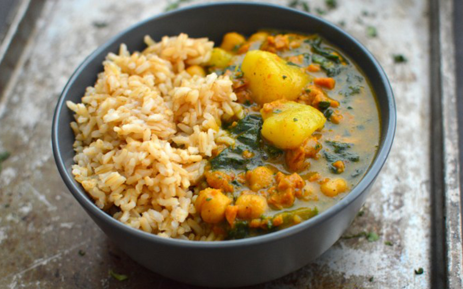 Vegan Gluten-Free Vegetable Protein Curry with a side of rice