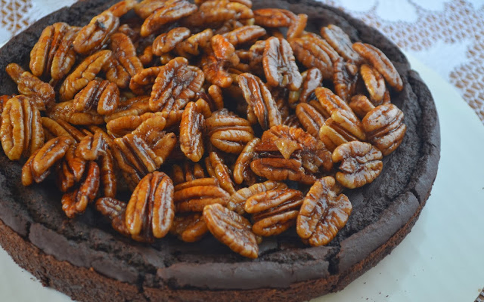 Vegan Flourless Black Bean Brownie Pecan Pie