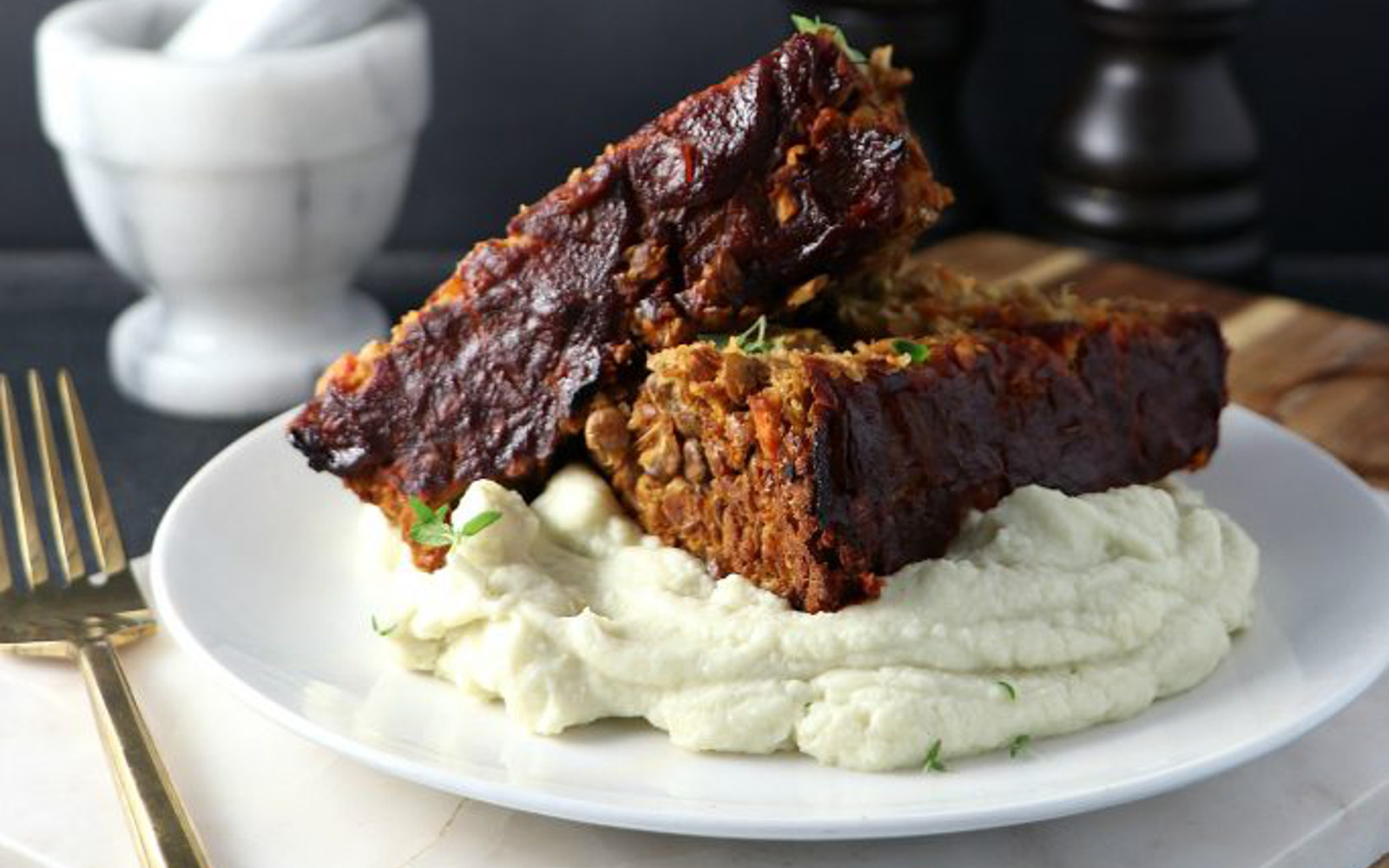 Vegan Lentil Loaf With Celery Root Mash