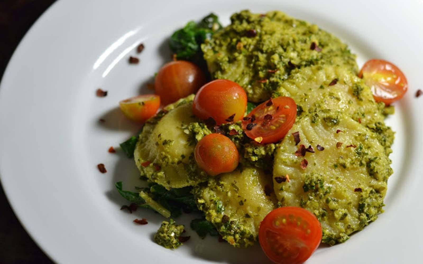 Vegan Ravioli With Kale Pesto And Sautéed Chard