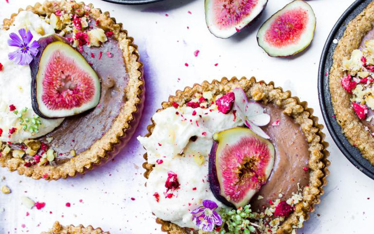 Vegan Fig Curd Tarts With Lavender and Chamomile Cream
