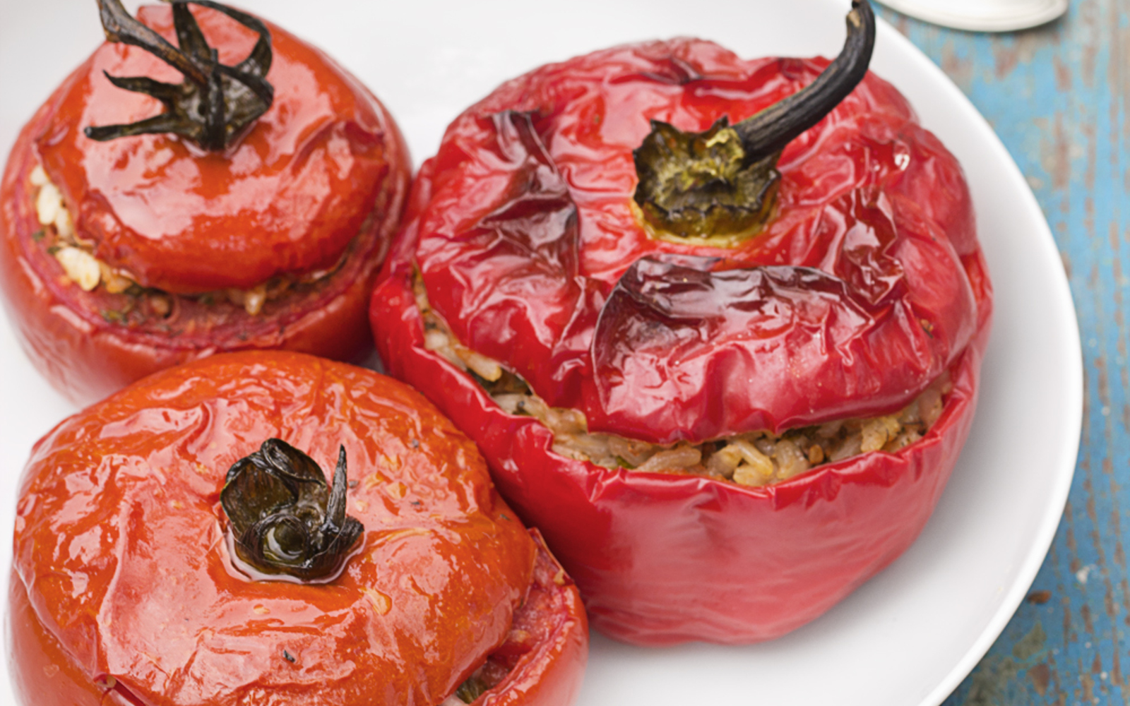 Risotto and Herb Stuffed Peppers and Tomatoes [Vegan, Gluten-Free]