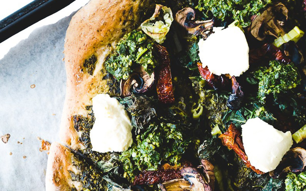 Vegan Gluten-Free Kale Pesto Pizza With 'Goat' Cheese