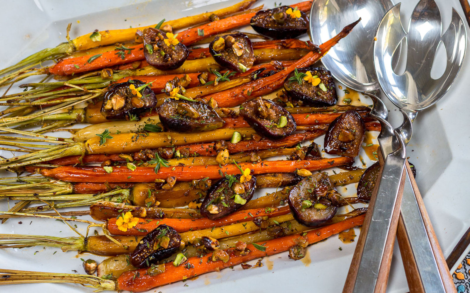 Vegan Roasted Carrots With Fresh Figs, Pomegranate Glaze and Pistachios