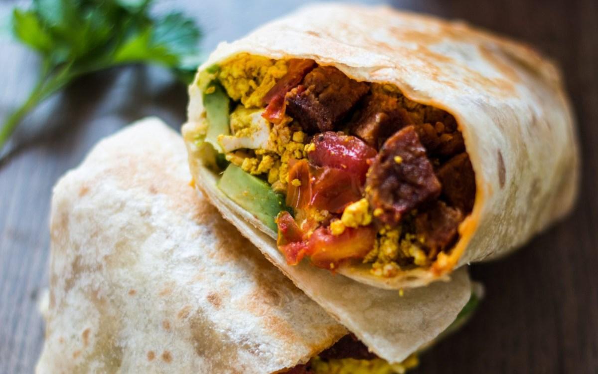 Vegan Spicy Sausage and Tofu Breakfast Burrito