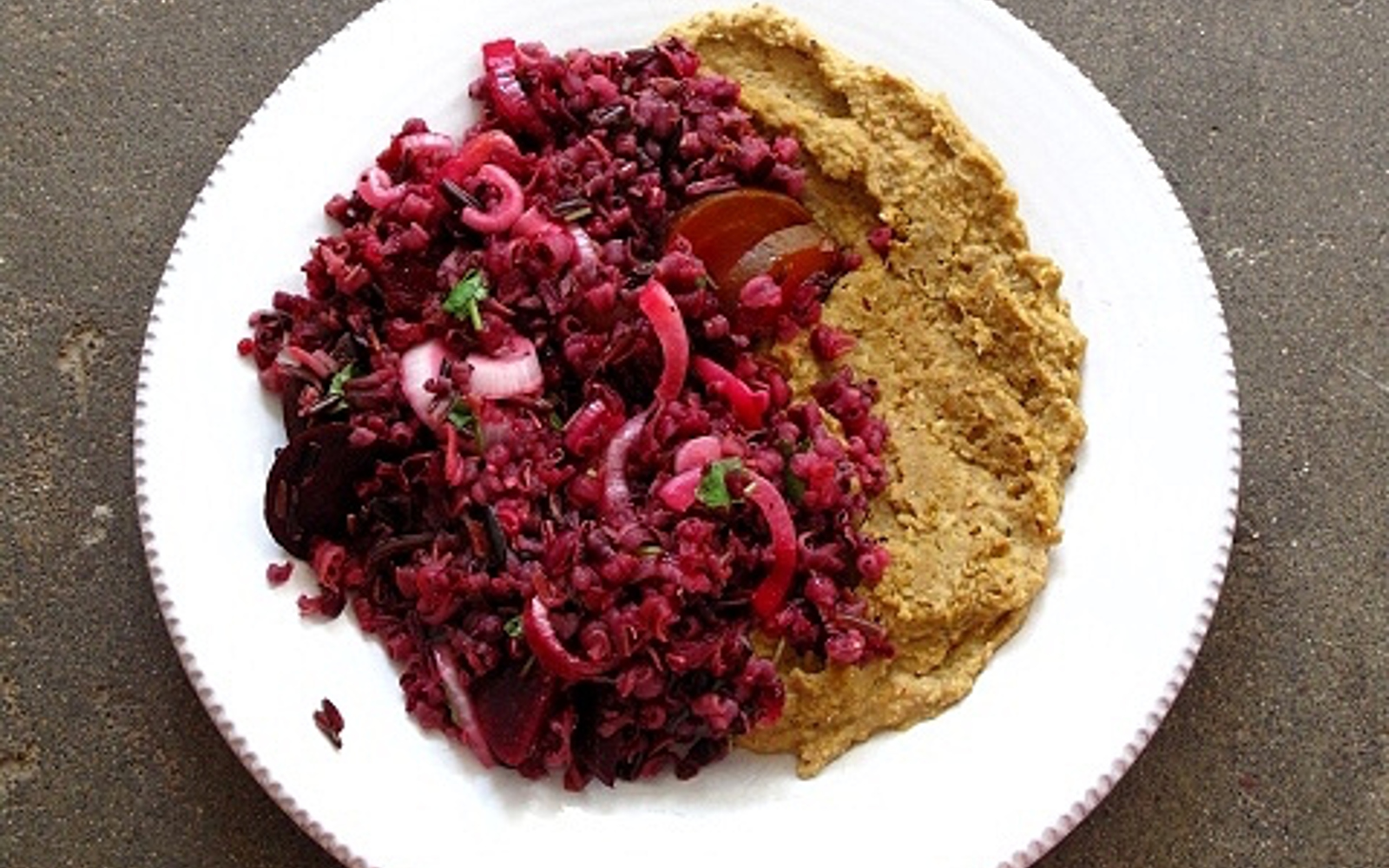 Vegan Gluten-Free Wild Rice and Beet Salad with Muhammara Bean Purée