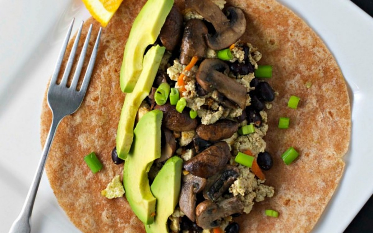 Mushroom and Avocado Breakfast Burrito