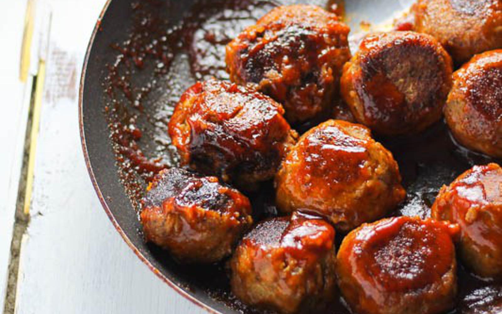 Vegan BBQ Lentil Meatballs in skillet