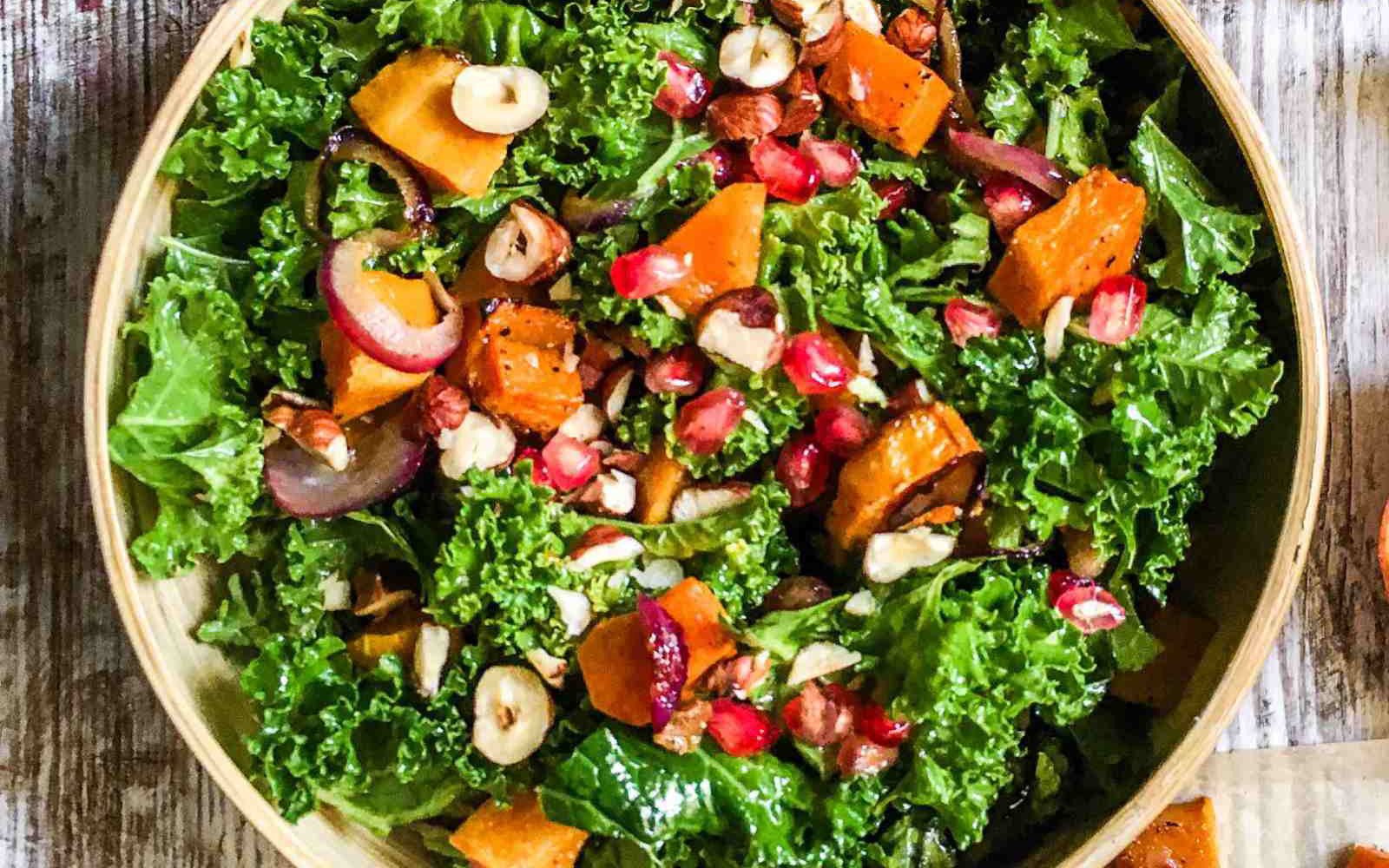 vegan kale and pumpkin salad