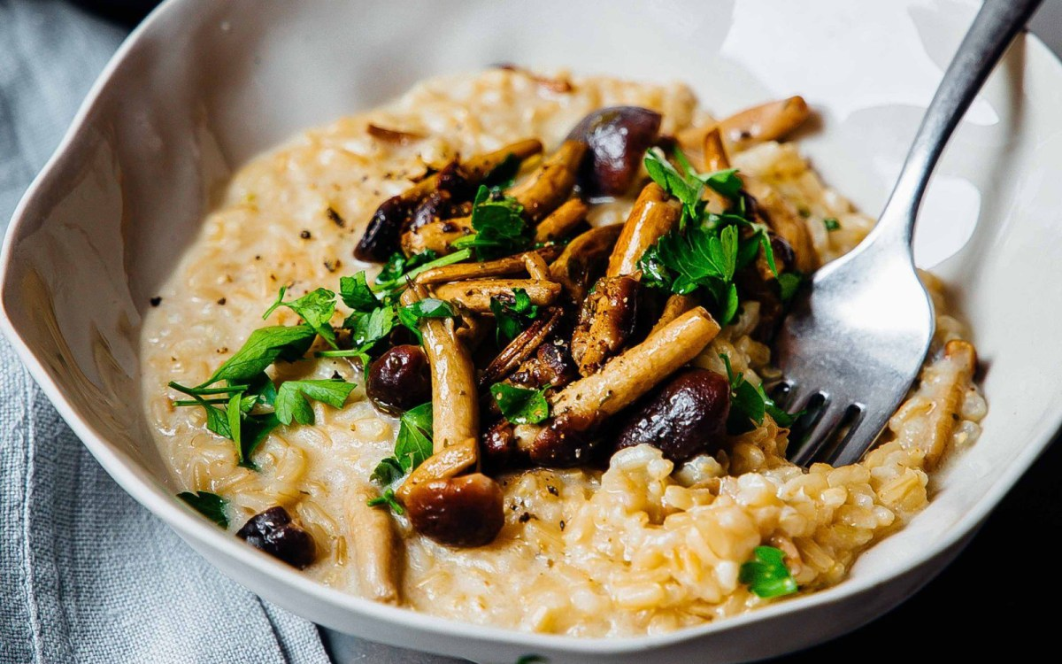 Vegan Mushroom, Tahini, and Miso Risotto