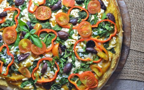 Vegan Roasted Butternut Squash Pizza With Garlic Cashew Cheese and Veggies