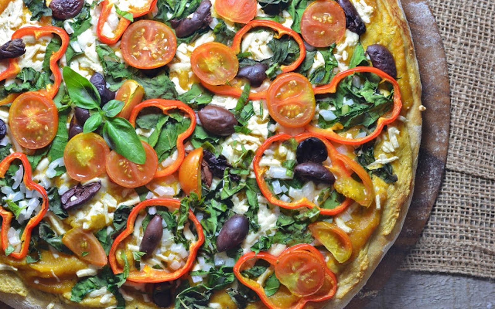 Vegan Roasted Butternut Squash Pizza With Garlic Cashew Cheese and Veggies