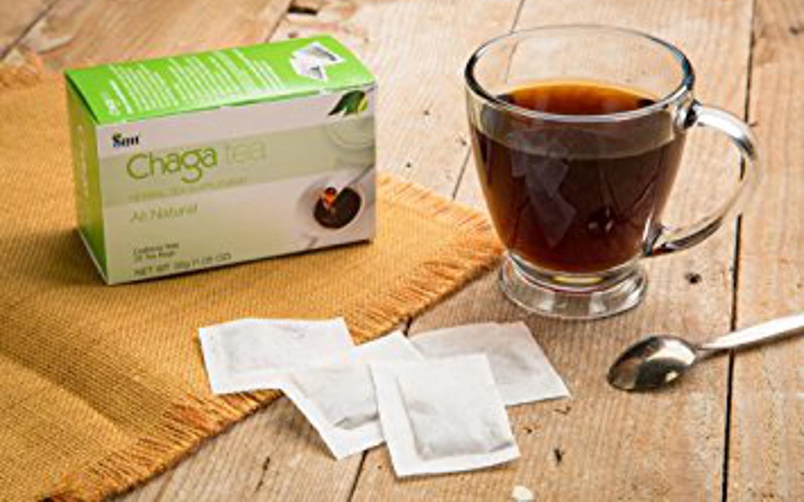 Sayan Siberian Chaga Mushroom Tea (Unbleached 20 Tea Bags, Caffeine Free) picture with tea made