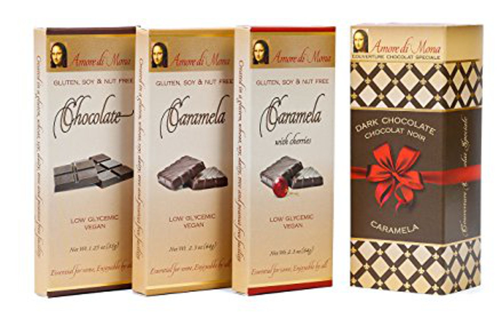 Classico Collection-Amore Di Mona Luxury Dark Chocolate and Caramela Box: Vegan, No Gluten, Peanuts, Tree Nuts, Milk, Sesame or Soy. Vegan, All-natural, Non-GMO, Low Glycemic