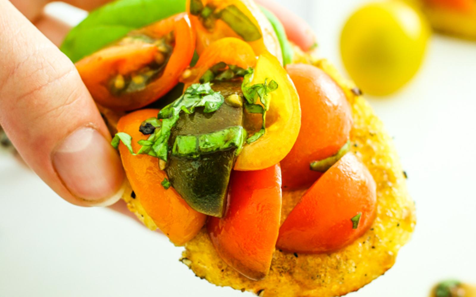 Vegan Gluten-Free Grilled Polenta Bruschetta Close up 2