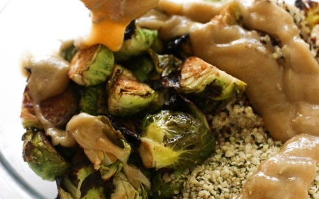 Vegan Rosemary Brussels Sprout Quinoa Salad With Dressing