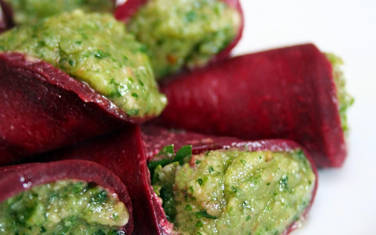 Raw Pesto Beet Wraps